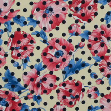 Italian Red and Yellow Polka Dotted Floral Batiste