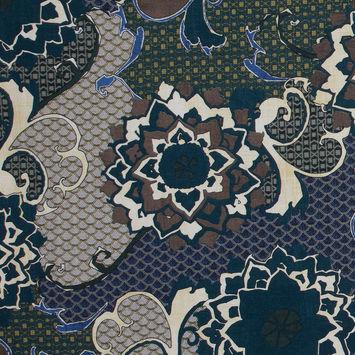 Italian Reflecting Pond Blue Floral Cotton Batiste
