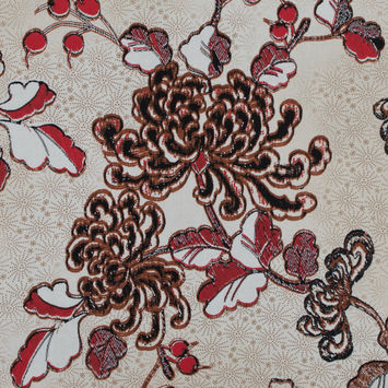 Italian Red and Brown Floral Cotton Batiste