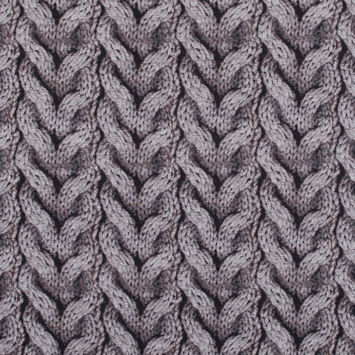 Cable Knit Printed Jersey Fused to a Solid Gray Felt