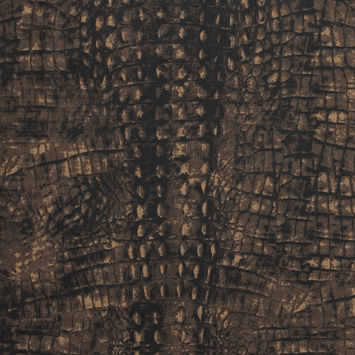 Brown Alligator Printed Stretch Waxed Cotton
