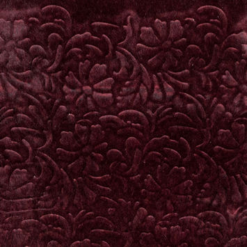 Red and Black Floral Embossed Faux Fur