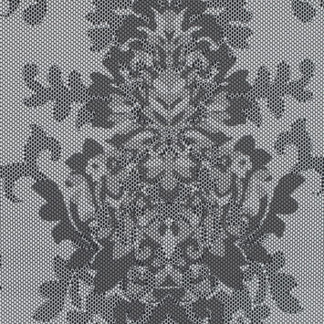 Gray and White Damask Printed Polyester Woven