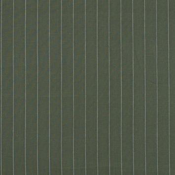 Deep Lichen Green and White Pencil Striped Linen Woven
