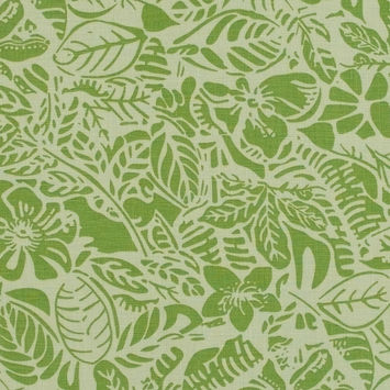 Parrot Green Leafy Printed Linen Woven