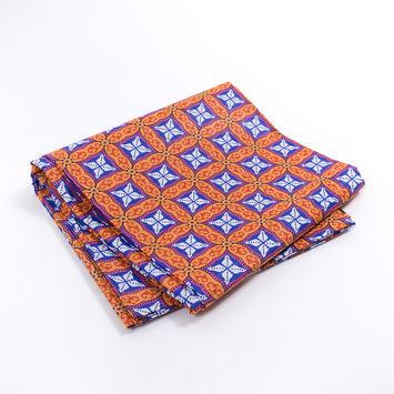 Orange and Purple Geometric Waxed African Print