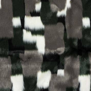 Green and Gray Color-Blocked Faux Fur