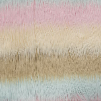 Pink, Pale Aqua and Beige Awning Striped Faux Fur