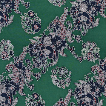 Green Floral Stretch Silk Crepe de Chine