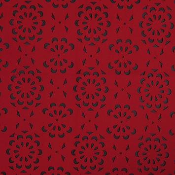 Red Floral Laser-Cut Scuba Knit Neoprene