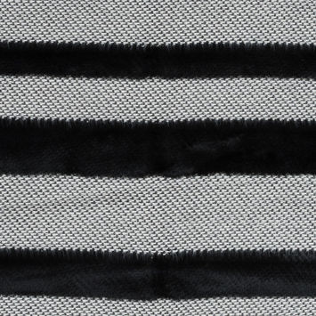 Novelty Black And White Cotton Knit with Black Faux Fur Awning Stripes