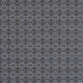 Tan and Gray Printed Cotton Twill with Solid Navy Reverse Face
