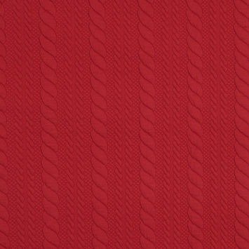 Red Quilted Knit With Striped Rope Design