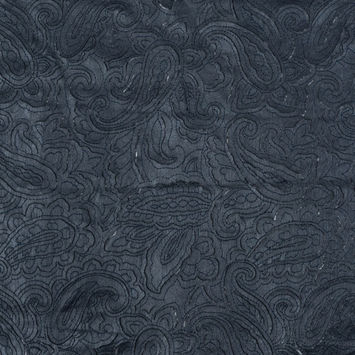 Navy Paisley Laser-Cut Faux Leather Top Stitched to a Mesh Backing