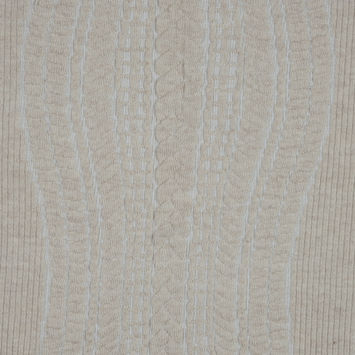 Beige and White Novelty Virgin Wool Knit with Chunky Knit Design