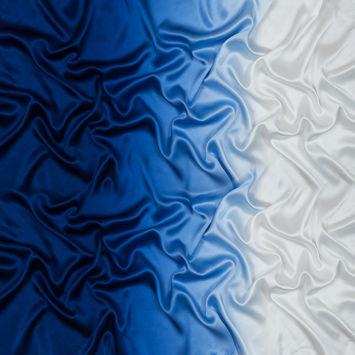 Whisper White and Mazarine Blue Ombre Silk Charmeuse