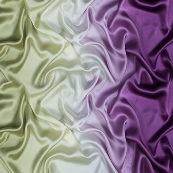 Nile Green and Bright Purple Ombre Silk Charmeuse
