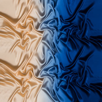Mazarine Blue and Peach Ombre Silk Charmeuse