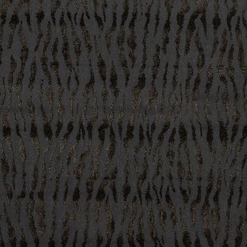Black Denim Flocked with Black and Metallic Gold Tiger Striped Velvet