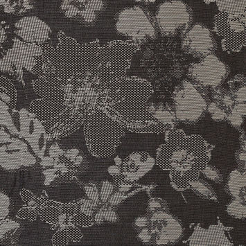 Carolina Herrera Beige and Black Floral Novelty Woven