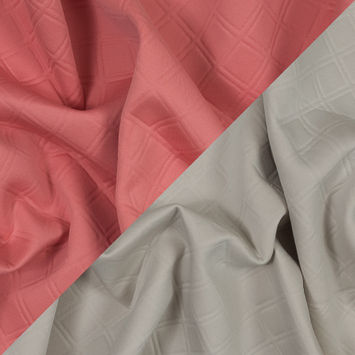 Coral and Pale Beige Diamond Quilted Double-Faced Neoprene