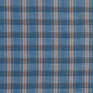 Blue and Orange Plaid Cotton Lawn