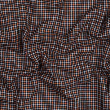 Orange, Gray and Black Plaid Cotton Double Cloth