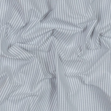 White and Gray Candy Striped Japanese Cotton Woven