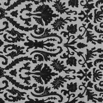 Black Velvet Damask Embroidered Netting