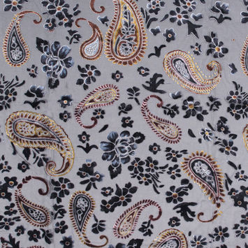 Black and Brown Paisley Burn-Out Velvet