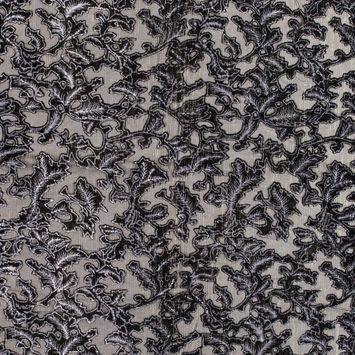 Black Abstract Burnout Velvet with Metallic Gold Stripes