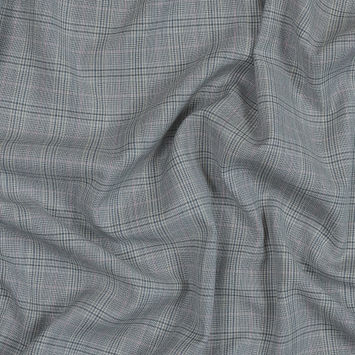 Pale Gray and Pink Plaid Lightweight Wool Woven