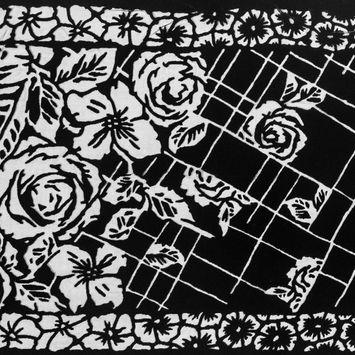 Famous NYC Designer Black Floral Silk and Rayon Burnout Velvet
