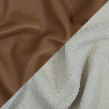 Warm Brown Faux Leather Bonded to a Cream Shearling