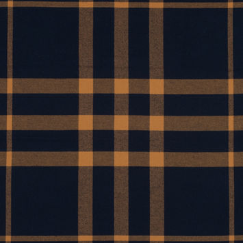 Navy and Saffron Plaid Double-Sided Cotton Flannel