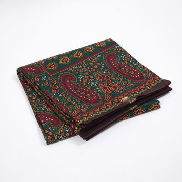Forest Green and Deep Red Paisley Waxed Cotton Vlisco African Print