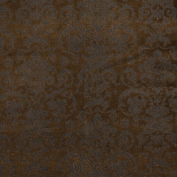 Brown Stretch Cotton Corduroy with Black Damask Top Foil