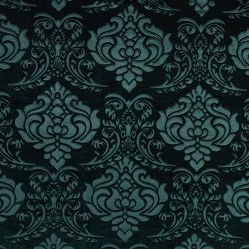 Emerald Green Damask Embossed Velour