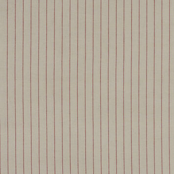 Beige and Red Pencil Striped Cotton Dobby Woven