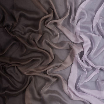 Lavender and Brown Ombre Crinkled Silk Chiffon