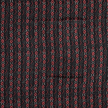Black and Red Geometric Printed Silk Charmeuse