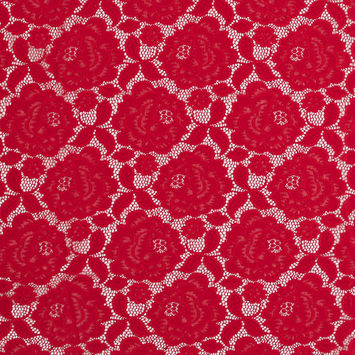 Red Rosy Re-Embroidered Stretch Crochet Lace