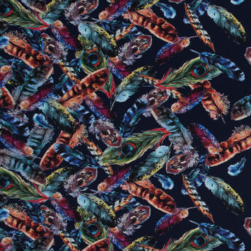 Navy and Multicolor Feather Border Printed Viscose Batiste