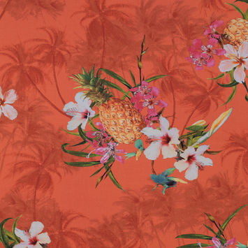Orange Pineapple Printed Viscose Batiste