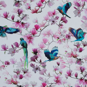 Pink and Blue Viscose Batiste with Flowers and Birds