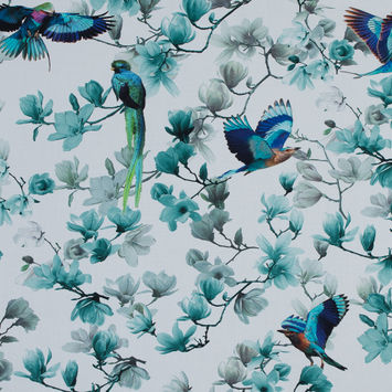 Blue and White Viscose Batiste with Flowers and Birds