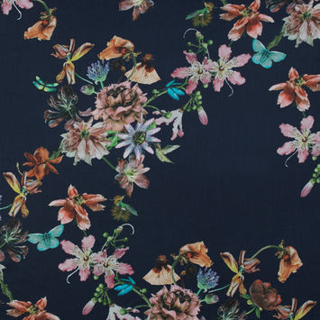 Navy and Pink Floral Digitally Printed Mercerized Cotton