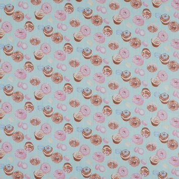 Candy Blue and Pink Mercerized Cotton with Digitally Printed Sweets