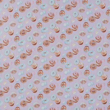 Orchid and Sky Blue Mercerized Cotton with Digitally Printed Sweets