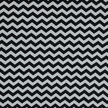Black and White Zig Zag Printed Polyester Jersey